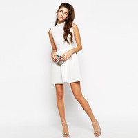 White High Collar  Sleeveless Zip Back Pleated A-Line Mini Dress