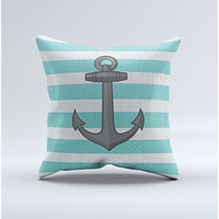 Trendy Grunge Green Striped With Anchor Ink-Fuzed Decorative Throw Pillow