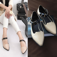Korean Leather Pointed Toe Rhinestone Flat Low-cut Casual Shoes [4920469956]