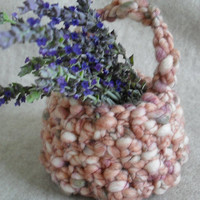Crochet Decor Basket, wedding flower girl, small shabby easter little basket