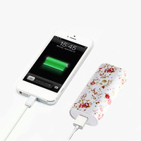 Elegant Floral Pattern Light Weight Portable Power Bank Charger for iPhone and Samsung Android