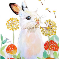 OOAK rabbit original watercolor 5x7Rabbit Art, nursery, children Watercolor,make a wish