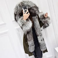 Winter Coat Women Luxurious Silver Fox Fur Collar White Duck Down Jacket