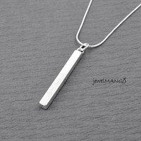 Bar necklace, hand stamped personalized necklace, hand stamped necklace, rectangle, Slim Long Silver Bar Necklace, Rectangular Prism, custom