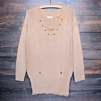Final Sale - Lace Up Knit Sweater in Tan