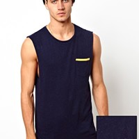 ASOS Sleeveless T-Shirt With Speckle Jersey And Contrast Trim