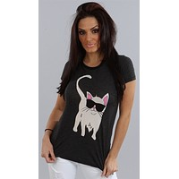 Wildfox Couture Cool Cat Crew Tissue Tee in Clean Black