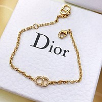 DIOR Fashion Women CD Letter Diamond Bracelet Hand Catenary Jewelry Accessories