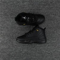 Kids Air Jordan 12 Black Sneaker Shoe Size US 11C-3Y