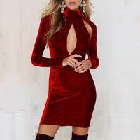 Burgundy Cut-out Long Sleeves Bodycon Velvet Dress