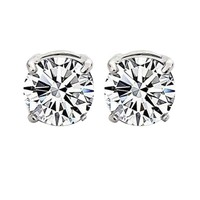 Pair of Unisex Round Zircon Magnet Ear Stud Earrings