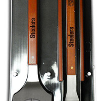 Pittsburgh Steelers 3 pc BBQ grill set sportula fork tongs new great gift idea