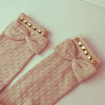 Cute knee high pointelle studded festival socks  by palypaly