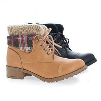 Loanna Military Combat Lace Up Knitted Ankle Cuff Lug Sole Boots