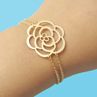 Belle, Gold, Rose, Big, Rose, Bracelet, Gift, Jewelry, Gift, Bracelet, Modern, Rose, Flower, Bracelet, Jewelry