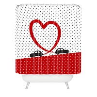 Belle13 Polka Dot Car Love Shower Curtain