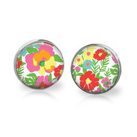 Bright Spring Floral Glass Stud Earrings Rainbow Color Earrings Flower Earrings Pink Blue Red Green Yellow Turquoise Lilac Earrings Jewelry