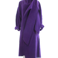 Maralyce Ferree Fleece Wrap Coat Purple 1980's Vintage Avant Garde Clothing Made in Maine USA Women's One Size Fits All / Unique Winter Coat