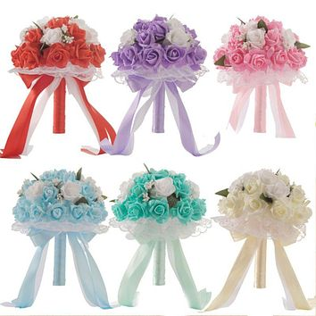 Candy Color Foam Artificial Rose Bouquet Wedding Bridal Holding Flower With Long Ribbons Bow Lace Faux Pearls Party Props Decor