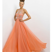 Blush 2014 Prom Dresses - Coral Pink Beaded Halter Prom Gown