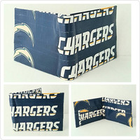 Small Blue and Yellow San Diego Chargers Men's Wallet - Billfold Wallet - Bifold Wallet - Christmas Gift Ideas for Men - Stocking Stuffers