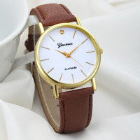 Essential Women's Fashion Design Dial Leather Band Analog Geneva Quartz Sports Dial Wrist Watch Bangle Bracelet Women Relojes