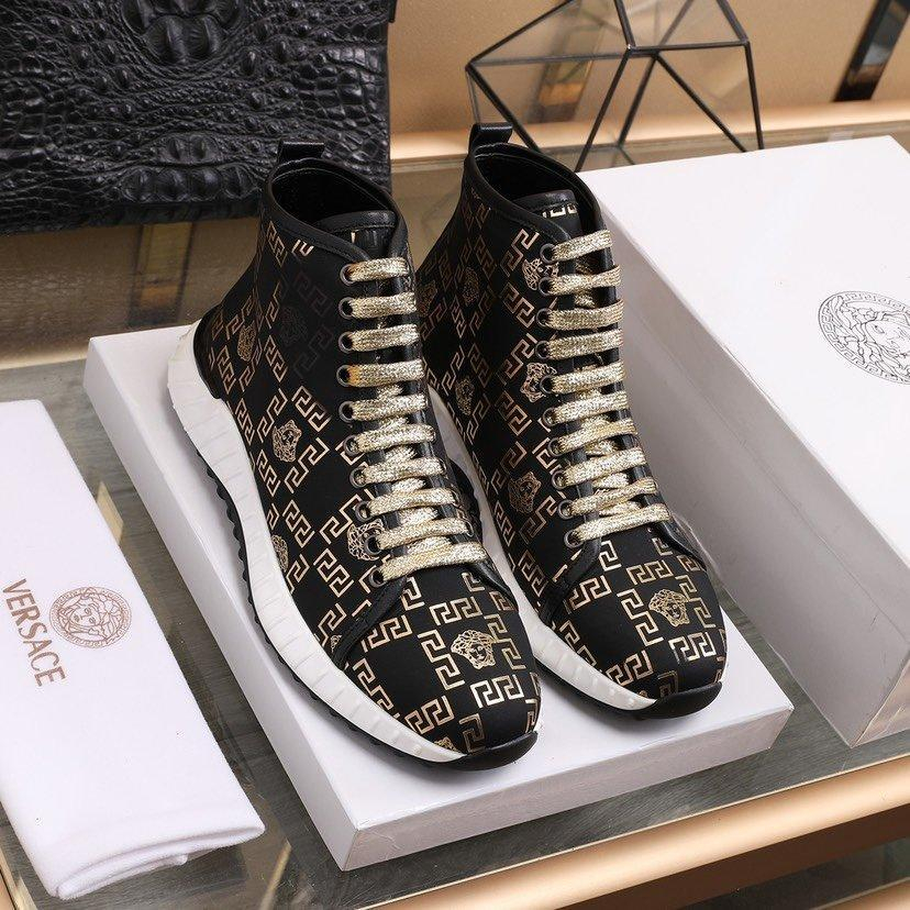 Image of VERSACE Men Fashion Boots fashionable Casual leather Breathable Sneakers Running Shoes