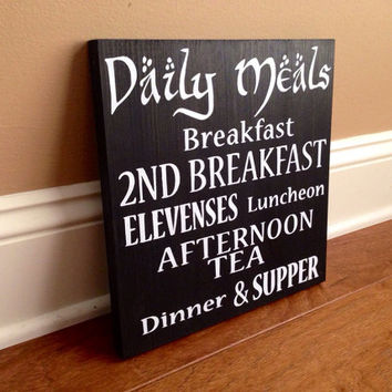 Customizable LOTR Second Breakfast Sign, Stained and Hand Painted, Choose Colors, Home decor