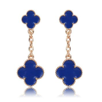 Beady Cleef Double Clover - Gold & Blue