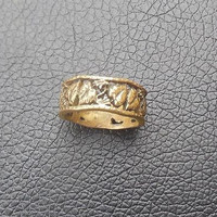 Beautiful large volume tin ring with floral motives of 15.5 size for women