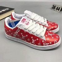 Adidas X LV X Supreme Fashion Flats Sneakers Sport Shoes For Women Men Red I-CSXY