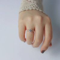 Rose gold flower cz solitaire ring, engagement ring, promise ring, wedding ring, bridal ring, statement ring, silver ring, gold ring, gift