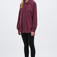 BDG Washed Oversized Shirt in Burgundy - Urban Outfitters