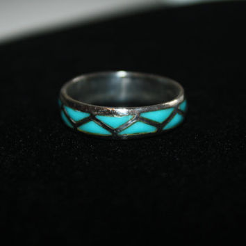 Men's Size 13 Vintage Sterling silver with Turquoise Free US shipping