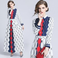 GUCCI Newest Fashion Women Print Elegant Long Sleeve Lapel Shirt Dress