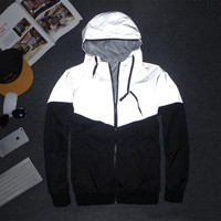 Men Jacket casual hip-hop reflective 3m jacket outdoors night jacket waterproof windbreaker night couple fluorescence coat