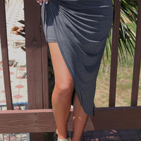 Myrtle Beach Heather Gray Twisted Detail Tulip Skirt