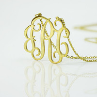 Monogram necklace - 18k gold plated  925 Sterling Silver Monogram Necklace - 0,80 inch - %100 Handmade