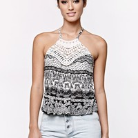 LA Hearts Crochet Bib Goddess Neck Tank Top - Womens Tees - Black