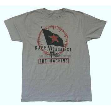 Rage Against The Machine Star Flag Image Grey T Shirt New Official RATM Soft custom printed tshirt Newest Top Tees|T-Shirts