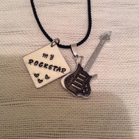 Guitar pendant stainless steel with my rockstar handstamped on 1 inch aluminum square, gift for him, Valentine's Day gift