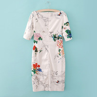 Summer Vintage Print Slim Half-sleeve Stylish Dress One Piece Dress [4917895108]