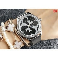 GUESS Stylish Ladies Men Diamond Movement Watch Business Watches Couple Wristwatch 5#