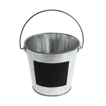 Galvanized Metal Bucket with Chalkboard Label, 4-Inch, Silver