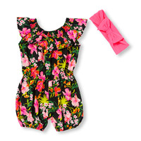 Baby Girls Sleeveless Neon Floral Print Ruffle Romper And Bow Headwrap Set | The Children's Place