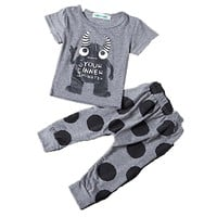 Newborn 2016 toddler baby boy clothing sets summer 2-piece boss pattern t-shirt and pants black&white lovley boy clothes sets