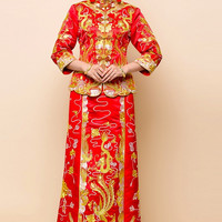 Chinese Wedding Embroider Traditional Qun Kwa Gold Silver Thread