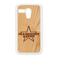 Carved on Wood Effect_Celebrity Hater White Hard Plastic Case for Moto G by Chargrilled