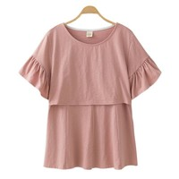 Maternity Nursing Cotton Top With Ruffled Sleeves