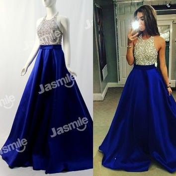 New Halter Beaded Long Prom Dresses Backless Party Dress Gold Silver Sequins Black Royal Blue Satin Ball Gown Evening Gowns 2016
